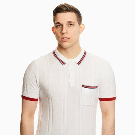 Pretty Green Mens Stripe Pocket Knitted Polo