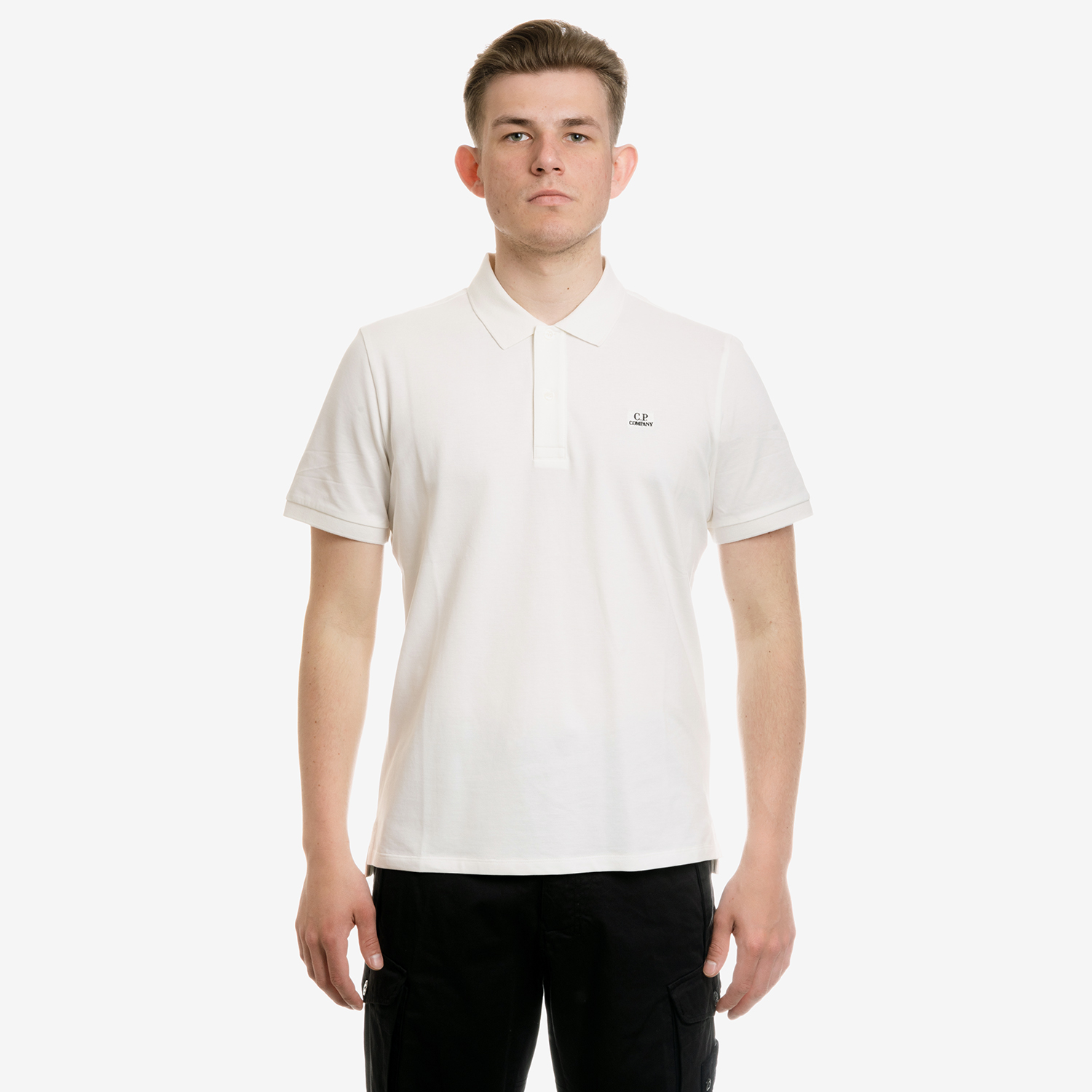 KOSZULKA CP COMPANY POLO TACTING PIQUET GARMENT DYED CHEST LOGO GAUZE WHITE