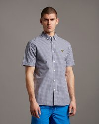LYLE&SCOTT GINGHAM SHIRT DECK NAVY/WHITE