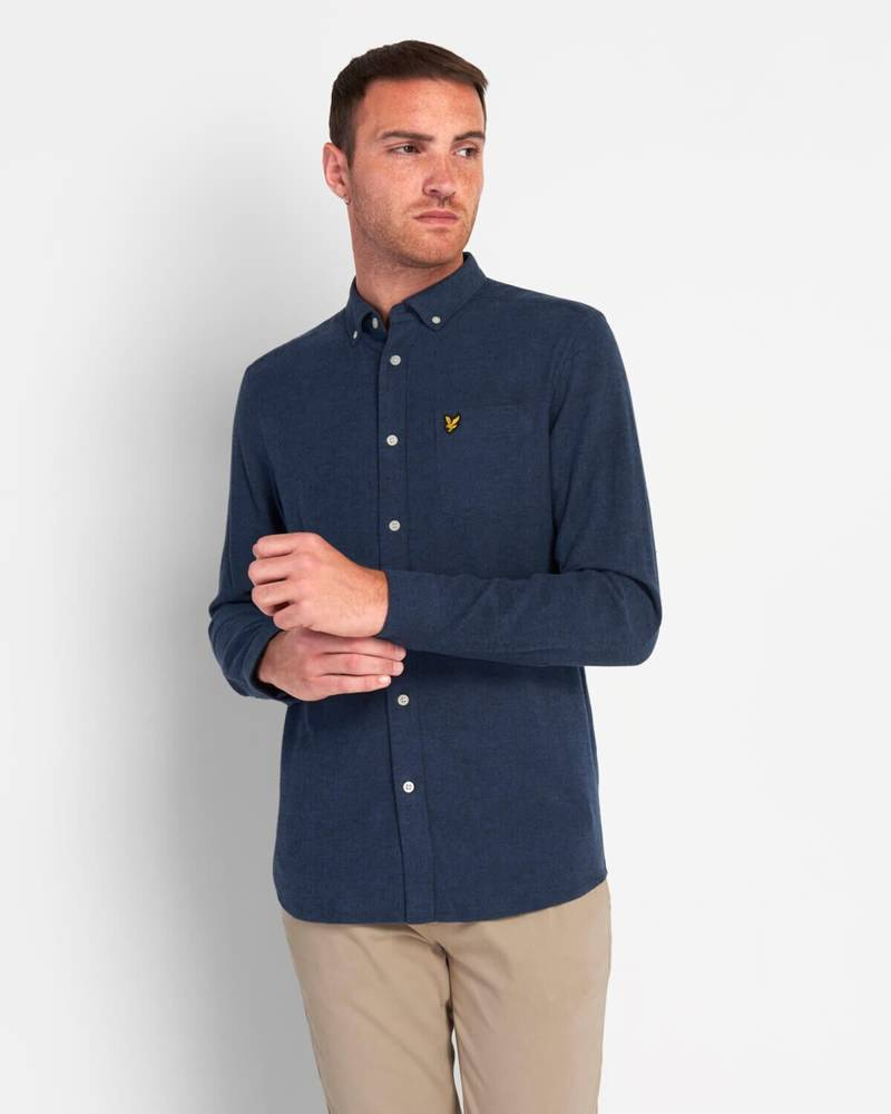 LYLE & SCOTT BRUSHED HERRINGBONE SHIRT DARK NAVY