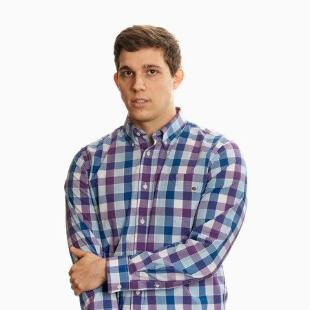 Pretty Green Mens Classic Fit Check Long Sleeve Shirt