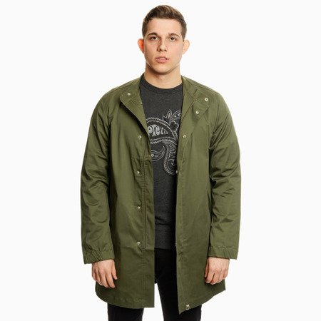 Pretty Green Mens Cotton Collarless Zip Up Mac