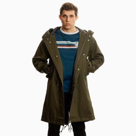 Pretty Green Mens  Cotton Zip Through Hooded Parka