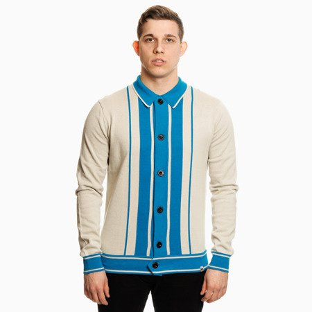 Pretty Green Mens Stripe Knitted Button Through Shirt