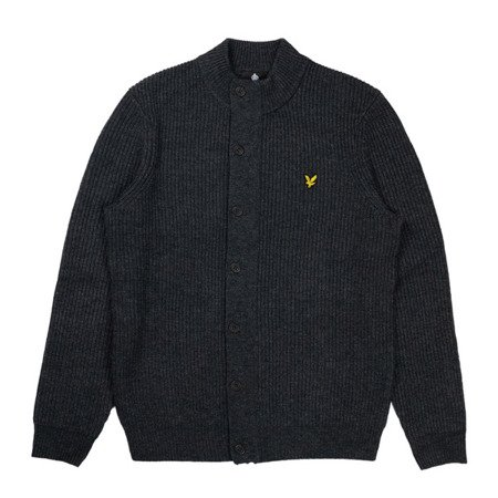 SWETER LYLE & SCOTT KNITTED ZIP THROUGH FUNNEL NECK CHARCOAL MARL
